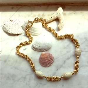 """Jewelry - Choker 18"""" thick gold chain & Neutral Glass Beads"""